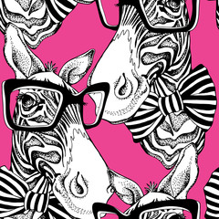 Seamless pattern. Zebra portrait in a striped tie with a glasses on a pink background. Vector illustration.