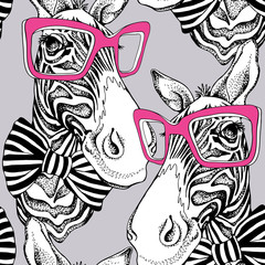 Seamless pattern. Zebra portrait in a striped tie with a pink glasses on a gray background. Vector illustration.