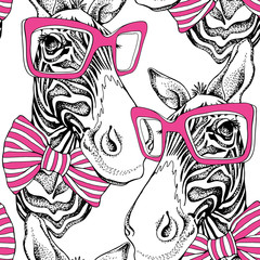 Seamless pattern. Zebra portrait in a striped tie with a pink glasses on a white background. Vector illustration.