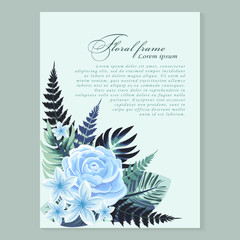 Vector vertical banner with tropical leaves and flowers on light blue  background.  Design for invitation card, wedding.