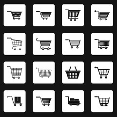 Shopping cart icons set in white squares on black background simple style vector illustration