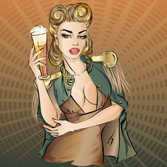 Oktoberfest pin-up woman with beer. Oktoberfest logo, banner, hand drawn vector illustration background