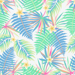 Vector seamless tropical pattern with palm leaves and flowers on light background. Colourful floral illustration for textile, print, wallpapers, wrapping.