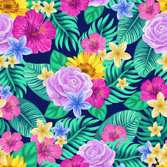 Vector seamless tropical pattern with palm leaves and flowers on dark blue background. Colourful floral illustration for textile, print, wallpapers, wrapping.