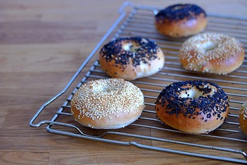 Baked bagels, fresh yeast round bread for breakfast, on a metal grill. Sprinkled with black and white sesame.