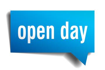 open day blue 3d speech bubble