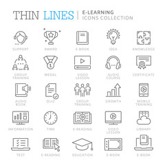 Collection of e-learning thin line icons