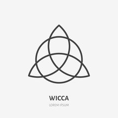 Wiccan trefoil flat line icon. Wicca magic sign. Thin linear logo for neopaganism religion.