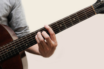 Guitar chords,Selective focus,Guitarist,The musicians are catching the guitar chords is B chord full bar on white background