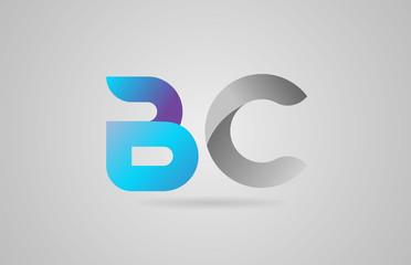 grey blue alphabet letter bc b c logo icon design