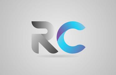 grey blue alphabet letter rc r c logo icon design
