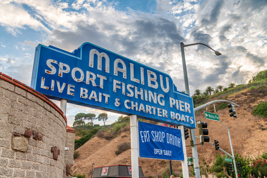 MALIBU, CA - AUGUST 1, 2017: Malibu fishing pier entrance. This is a major attraction for tourists