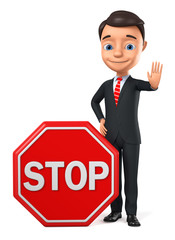 Businessman with stop sign on white background. 3d render illustration.