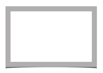 Grey simple rectangular realistic vector photo frame placed on white background with shadow. Template design.