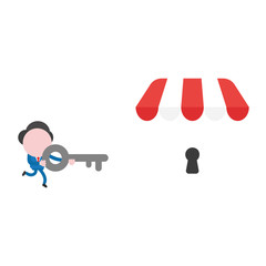 Vector businessman character running and carrying key to unlock shop store keyhole