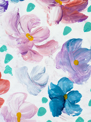 Abstract colorful flowers hand painted background