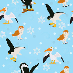 Seamless vector background with a pelican, an owl, a seagull and a falcon on a blue background