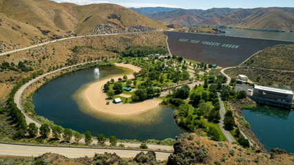 Aerial view of a Hydroelectric Dam on the Boise River in Idaho summer time