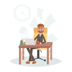 Businessman at the workplace color vector illustration