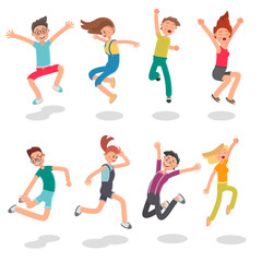 Cheerful young people jumping color flat illustration set