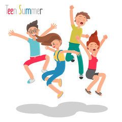 Group of cheerful young people jumping together color flat illustration