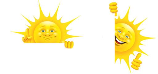 Cartoon Sonne mit Gesten hält Banner, Set -  Daumen hoch, Empfehlung