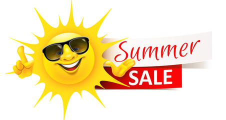Happy Cartoon Sun with Sunglasses and Banner - Summer Sale