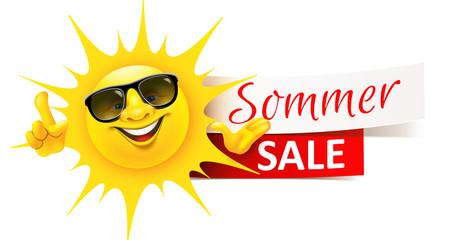 Cartoon Sonne mit Sonnenbrille und Sommer Sale Banner