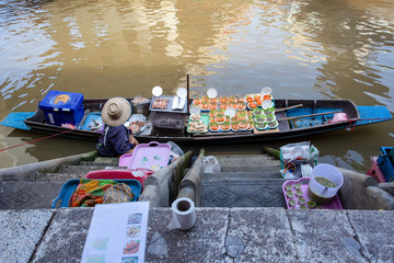 Seafood on boat at Amphawa floating Market in Thailand