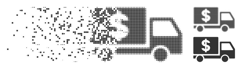 Grey vector dollar delivery icon in fractured, pixelated halftone and undamaged entire versions. Rectangle dots are used for disappearing effect.
