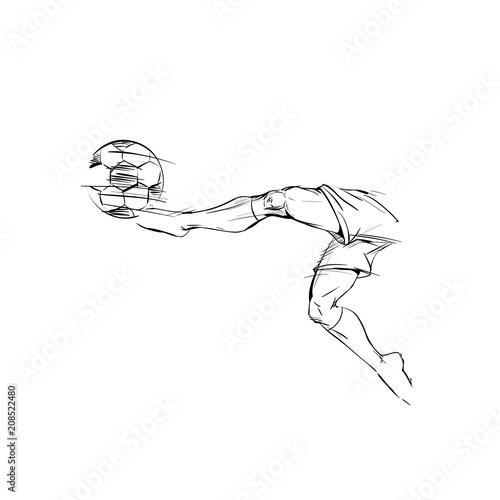 Soccer player in a jump, kicks the ball scoring a goal  Hand drawn