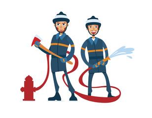 Two cartoon firefighters