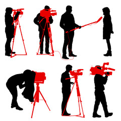 Set cameraman with video camera. Silhouettes on white background