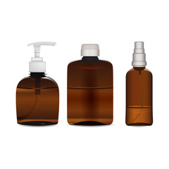 A set of three brown plastic and glass bottles designated for massage oils, body milk, liquid soap, shampoo, shower gel, lotion or similar liquids. Collection for body care. Realistic mockup template.