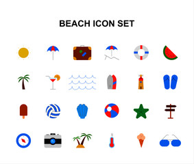 Color icons set. Beach pack. Vector illustration