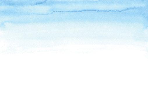 Soft blue sky watercolor texture. Watercolor gradient border