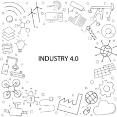 Industry 4.0 background from line icon. Linear vector pattern