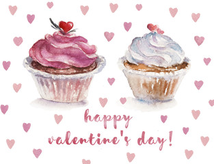 Watercolor St. Valentine illustration with two cupcakes
