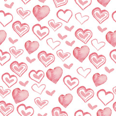 Watercolor Valentine's Day seamless pattern with pink hearts