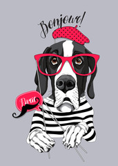 Great Dane Dog in a striped T-shirt and with a red glasses, beret, mustache photo booth props. Vector illustration.