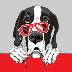 Great Dane Dog with a red grill glasses photo booth. Vector illustration.