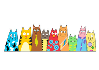 Cartoon cat isolated on a white background. Colorful cartoon geometric cats.