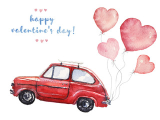 Watercolor Valentine's Day illustration with pink heart-shaped balloons and red car
