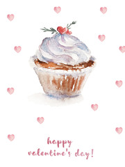 Watercolor St. Valentine illustration with white cupcake