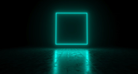 Blue Empty Rectangle Neon Light On Concrete Reflective Surface. 3D Rendering