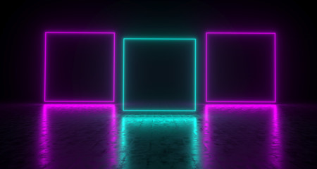 Purple And Blue Empty Rectangles On Concrete Reflective Surface. 3D Rendering