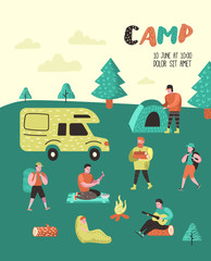 Summer Camping Poster, Banner. Cartoon Characters People in Camp Placard, Invitation, Background. Travel Equipment, Campfire, Outdoor Activities. Vector illustration