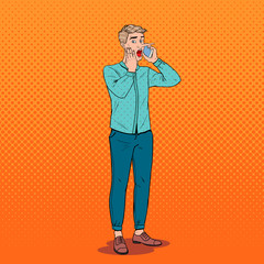 Pop Art Shocked Man with Long Nose Talking on Smartphone. Fake News Concept. Vector illustration