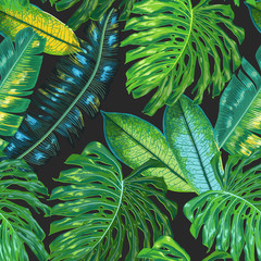 Floral Tropical Seamless Pattern. Palm Leaves Watercolor Background for Wallpaper, Fabric, Textile, Wrapping Paper. Monstera Botanical Design. Vector illustration