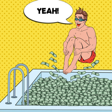Pop Art Happy Man Jumping to the Pool of Money. Successful Businessman. Financial Success, Wealth Concept. Vector illustration